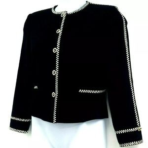 ST. John Black White Jacket Zigzag Stitch Sz 8